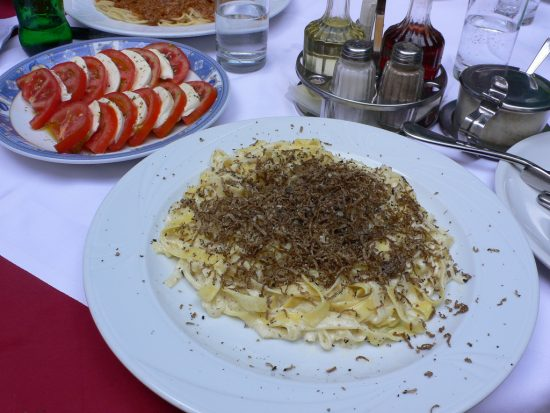Pasta topped with Istrian truffles